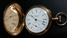 Vintage 14K Yellow Gold American Waltham Pocket Watch Seaside Hunter case