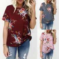 Womens Casual Summer Floral Printing T-shirt Short Sleeve Top O-Neck Blouse Tee