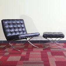 Modern Barcelona Style Pavilion Lounge Chair and Ottoman Genuine ITALIAN Leather