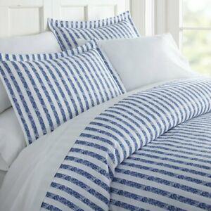 Becky Cameron Twin/XL Ultra Soft 2 Piece Duvet Cover Set Rugged Navy Stripe NEW