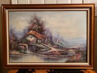 Circa 1970 Mountainside Cottage Landscape Oil Painting on Canvas by G. Whitman