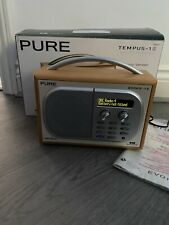 PURE Tempus-1S DAB Radio FM Clock Cherry Wood Veneer With Original Power Cable