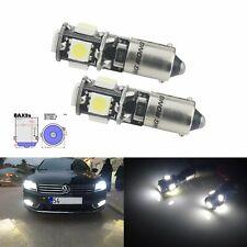 2 Ampoules H6W BAX9s 5 SMD LED Blanc Xenon Anti Erreur Veilleuse Voiture Lampe
