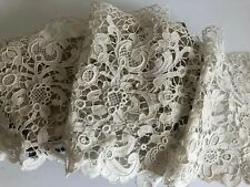 Antique Victorian Piece Of Venetian Gros Point Needlelace From A 17thc Design