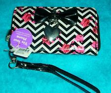 CLAIRE'S ROSES HEART CHARM ZIPPERED CLUTCH WALLET CELL PHONE CASE