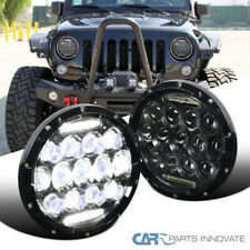 "LED DRL Headlights 7"" Round Black Hi/Low Sealed Beam Jeep Wrangler TJ JK 2PC"