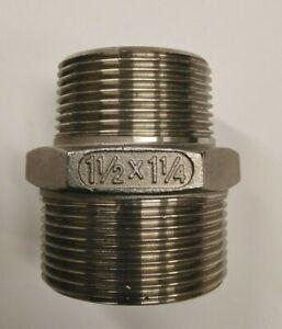 """1¼"""" - 1½"""" BSPT Male reducing hexagon nipple/adaptor stainless steel 316 (U74)"""