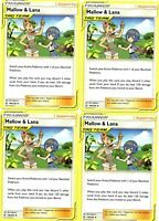 Mallow & Lana 198/236 - Pokemon Cosmic Eclipse 4 Card Lot - Trainer Playset