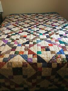 Finished Multi Colored Quilt Teal Jacobs Ladder 74x98 Hk Hidden Knot