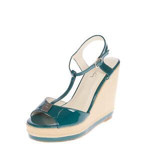 PIERRE CARDIN T-Strap Sandals EU 36 UK 3 US 6 Varnished Logo Platform Sole