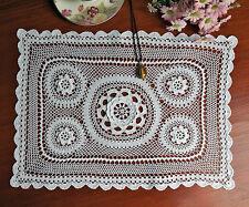 Fine Yarn Cotton 3D Lace Hand Crochet Doily Placemat Rectangle 30x45CM White