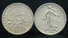 FRANCE  FRANCIA  1 franc semeuse 1913  ARGENT  SILVER  ( bis )