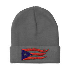 Beanies for Men Puerto Rico Flame Flag Black Embroidery Acrylic Skull Cap