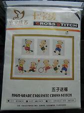 IKER cross stitch Baby Kids Tots Chinese Tibetan Monks Warriors Sumo wall plaque