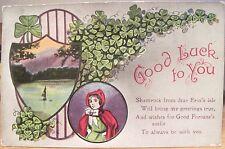Irish Postcard GOOD LUCK TO YOU Erin's Isle Philco Erin Series Ireland Girl Cape