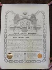 Vintage Masonic FreeMason Scottish Rite Supreme Council Certificate 32nd Degree