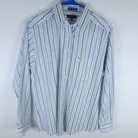 Faconnable Blue White Striped Button Up Long Sleeve Shirt Mens Size Medium