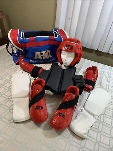 ATA Martial Arts Padding Helmet Chest Gloves Foot Protectors Bag Bundle Youth SM