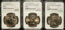 NGC MS-65/64 GREAT BRITAIN LOT OF 3 (THREE) 1 CROWN COINS 1972-77