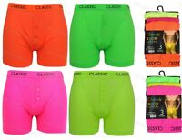 3 Pairs Mens Classic Plain Neon Boxer Shorts Trunks Briefs Adults Underwear