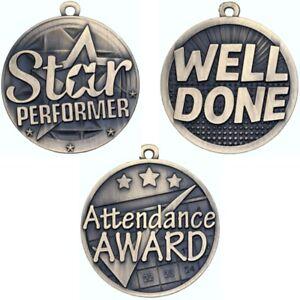 Achievement Medals - STAR PERFORMER - ATTENDANCE AWARD - WELL DONE - No ribbon