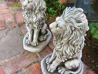 STONE LIONS,PAIR OF PROUD GARDEN CONCRETE STONE LIONS,STONE ORNAMENTS,LIONS DETA