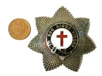 Quality Old Knights Templar Enamel Breast Badge Masonic Order white metal  #CM1