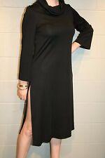 S Black Knit Vtg 70s California Girl Tunic Dress Cowl Bell Sleeve Side Slit Hem