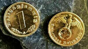 ++ 3 x 1 Reichspfennig 1937/1938/1939 mit HK - 24 Karat vergoldet ++