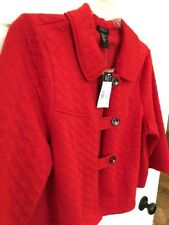 Women's RQT Red Quilted Jacket Blazer Poncho Size XL Botton Front 3/4 Sleeve NOS