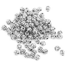 100 Antique Silver Pumpkin Round Spacer Beads Charms DIY Jewelry Making 4mm