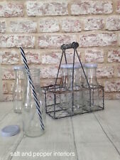 Vintage Style Milk Bottles 200ml Wire Crate Glass Lid French Chic Wooden Handle