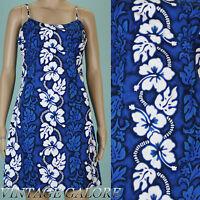 VTG 80s 90s Grunge Blue white floral Hawaiian spaghetti strap Beach dress Sz S