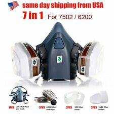 Half Face Gas Mask Respirator Withdual Filter 7 In 1 Set Emergency Safety Reusable
