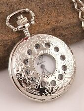 LOOOK! Silver Plated Pocket Watch 12Mth Wty +Chain KP14
