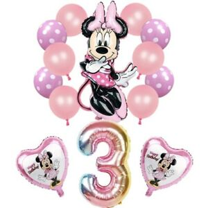 Disney MINNIE MOUSE PINK FOIL BALLOONS 3rd Birthday Party 14 piece set UK SELLER