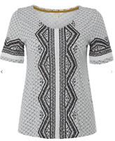 NEW White Stuff Nevai Embroidered Black & White Jersey Tee Pretty Top Now £15