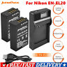 2x Battery +LCD Charger Kit for Nikon EN-EL20 ENEL20A Coolpix P1000 Camera UB