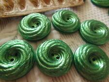 lot 6 gros boutons ancien lumineux vert métalisé spirale vintage 2,7 cm ref 2280