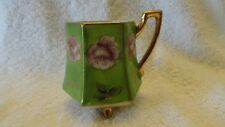 MINATURE CUP MADE IN OCCUPIED JAPAN PINK-PURPLE GREEN/GOLD TRIM GOOD CONDITION