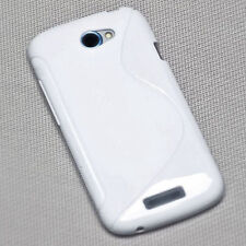 Rubber Handy Hülle Silikon TPU Cover Case Schutzhülle  in WEIß für HTC One S