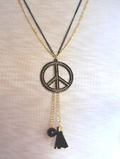 Peace Sign Double Chain Necklace w Tassel (black&gold)