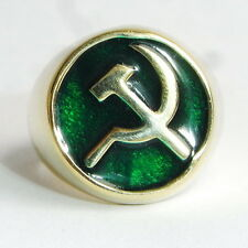 SOVIET RUSSIAN COMMUNIST HAMMER & SICKLE MENS BRONZE RING  EMERALD GREEN  Jewel