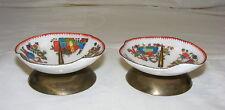 Vintage Porcelain & Brass Candle Holder Set of 2 Hand Painted Scenes Austria