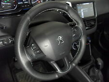 FITS PEUGEOT 208 ITALIAN LEATHER BLACK STEERING WHEEL COVER