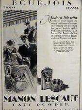 Paris Face Powder Bourjois Manon Lescaut 1928 C.H. Anderson Art Deco Ad Matted