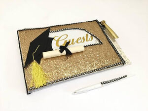 Graduation Guest Book Grad Party Signature Book Hat Diploma Gold Glitter Design