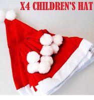 X4 Children's Red Felt Christmas Santa Hat Xmas Kids Fancy Dress Accessory