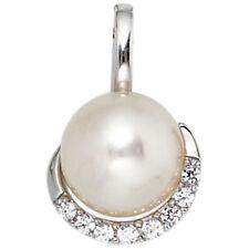 Perlenanhänger 585 Gold Weißgold 1 Süßwasser Perle 8 Diamanten Anhänger 39847