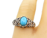 925 Sterling Silver - Vintage Turquoise Swirl Dome Band Ring Sz 8 - R17184